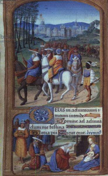 Yates Thompson 5 f.48v Adoration of the Magi, from the Tilliot Hours, Tours (vellum) (detail of 20292)