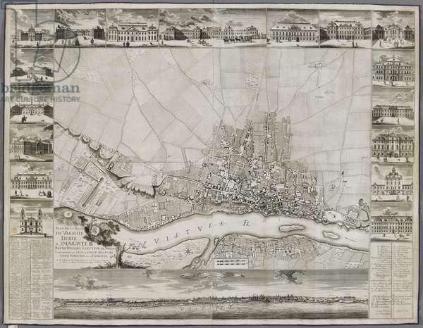 Map of Warsaw, 1762 (engraving)