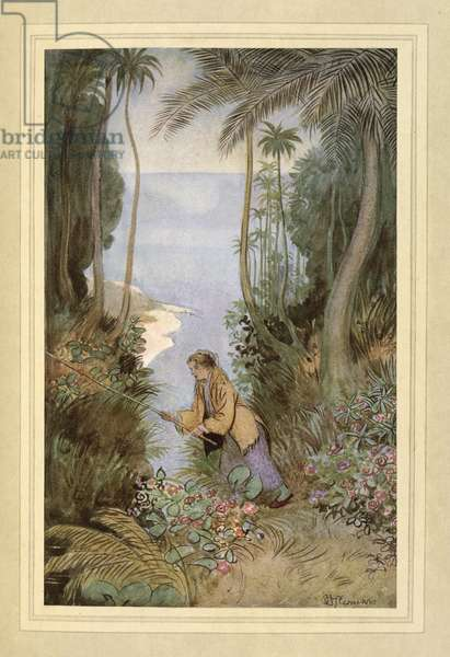 Fishing, from 'The Admirable Crichton' by J. M. Barrie, 1914 (colour litho)