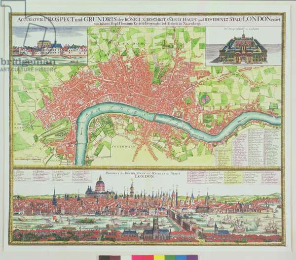 Aerial Map of London, and View across the Thames from South Bank, with St. Paul's and London Bridge, by Johann B. Homann, c.1730 (hand coloured engraving)