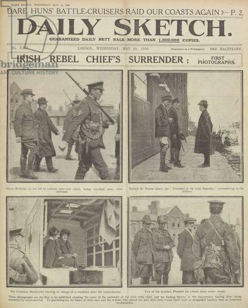 Irish rebel chief's surrender: First photographs. A newspaper report regarding the arrest of participants of the Easter Rising, also known as the Easter Rebellion, an armed insurrection staged in Ireland during Easter Week, 1916. John MacBride was not a member of the Irish Volunteers, but upon the beginning of the Rising he offered his services to Thomas MacDonagh, and was appointed second-in-command at Jacob's biscuit factory when that post was surrendered on Sunday, 30 April 1916. He was executed on 5 May 1916. Patrick Pearse. Commander in Chief of the Irish forces. He was executed on 3 May 1916. Constance Georgine Markievicz, Countess Markievicz ( 868 - 15 July 1927) was an Irish Sinn Fein and Fianna Fail politician, revolutionary nationalist, suffragette and socialist. In December 1918, she was the first woman elected to the British House of Commons, though she did not take her seat.  Joseph Mary Plunkett: Born 1887, Director of Military Operations, was executed on 4 May 1916. He had two brothers who joined him in the Easter Rising and later became important IRA men.