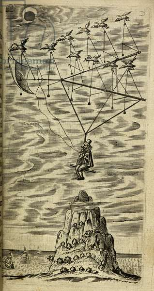 A man, Domingo Gonsales being transported to the Moon using a device supported by a flock of Ganzas.