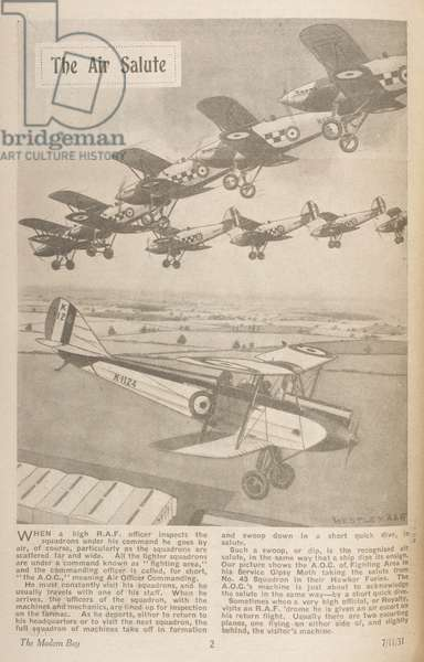 'The air salute.' Aircraft of the RAF, flying in formation.The Modern Boy7 November 1931