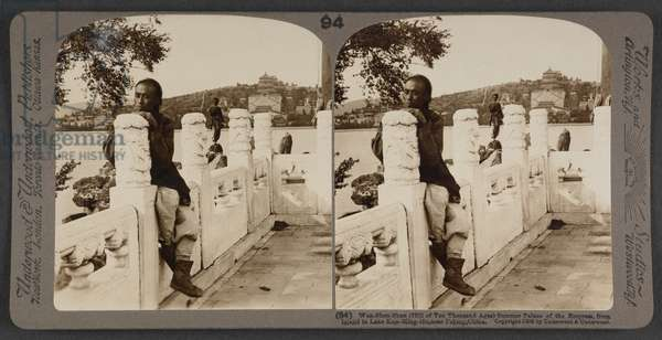 Wan-Shen-Shan (Hill of Ten Thousand Ages), Summer Palace of the Empress, from island in Lake Kun-Ming-Ho, near Peking, China, c.1900 (stereoscopic photo)