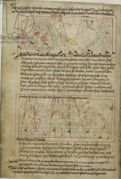 Cotton Claudius B. IV, f.25v Abraham and Lot
