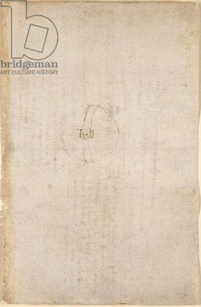 Arundel 263, f.281r Faint sketch, from Codex Arundel, c.1500-5 (pen & ink on paper)