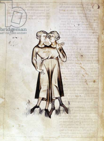 Sloane 3983 f.8v Drawing of Gemini, from a translation of a Persian astrological treatise by Jafar ibn Muhammad (vellum)
