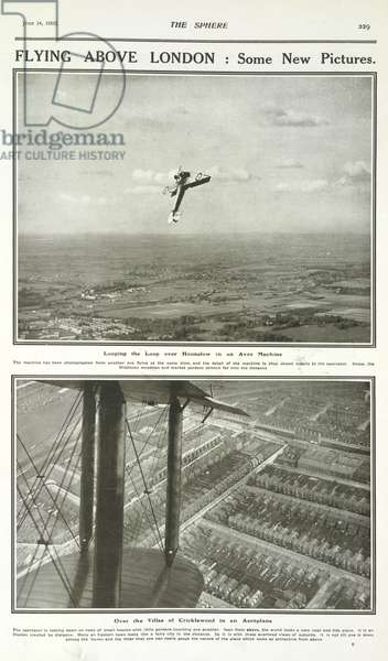 Flying Above London. Looping the Loop over Hounslow in an Avro Machine.  The machine as been photographed from another one flying at the same time.