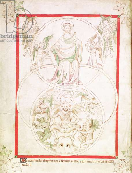 Roy 2 B VII f.1v The Fall of Lucifer, from the Queen Mary Psalter, c.1310-20 (vellum)