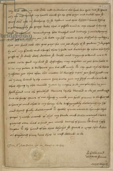 Holograph letter of Anne Boleyn to Thomas Wolsey