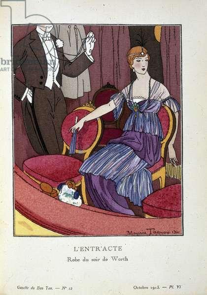 """Mode des annees 1910 : L'entracte. Une jeune femme en robe du soir de Worth au theatre. Illustration de Maurice TAQUOY (1878 - 1952). Planche tiree de """"""""Gazette du Bon Ton. Art, modes et frivolites"""""""", journal de mode francais. Londres, 1912. The British Library Institution Reference: Shelfmark ID: P.P.5242.dd. Plate No: 16 The Interval, 1912. Woman in a box at the theatre, wearing an evening dress by Worth. late 16 from """"""""Gazette du Bon Ton. Art, modes & frivolites"""""""", a French periodical on fashion, taste and art. (Paris, London, 1912). ©The British Library Board/Leemage Attention! L'utilisation de cette oeuvre peut etre soumise a une demande d'autorisation a un tiers ou au paiement de droits supplementaires"""