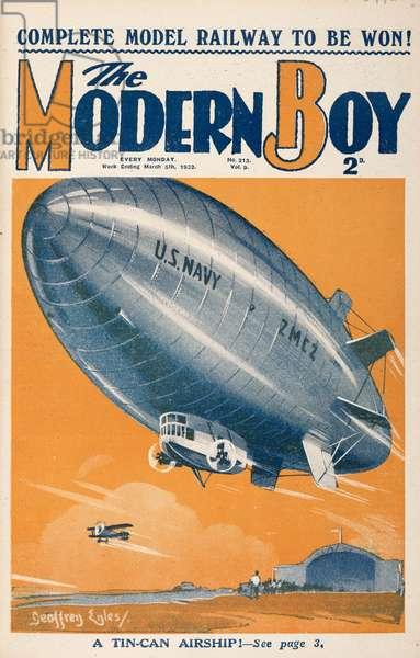 'A tin-can airship.' An  An airship or dirigible balloon, of the US navy.The Modern Boy5 March 1932