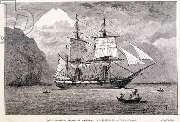 HMS Beagle in the Straits of Magellan (print)