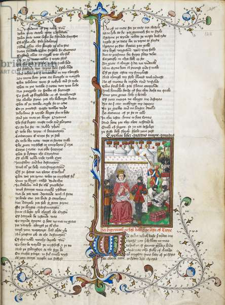 Beginning of Book V. Miniature shows Ajax and Ulysses quarrelling before Agamemnon; behind, the Greeks loading baggage and marching to their ships, accompanied by a trumpeter in heraldic dress