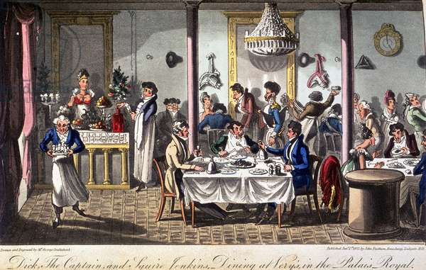 Dining in the Palais Royal, from David Carey's 'Life in Paris...', 1822 (coloured engraving)