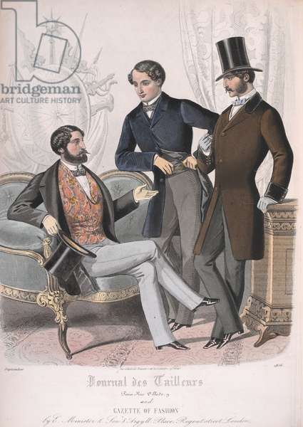 Three men, one wearing a jacket and waistcoat, the other two wearing morning coats.