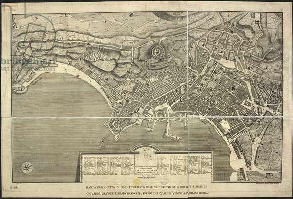 Map of Naples, Pianta della citta di Napoli ... M.L. Jolivet ... belin. [sic] et sclp. 1755 (engraving)