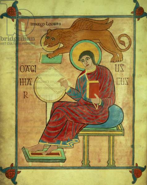 Cott Nero DIV f.93v St. Mark seated with his symbol, from the Lindisfarnes Gospels, 710-721 (vellum)