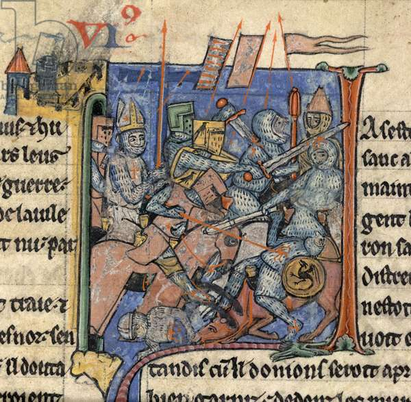 [Miniature only] Book VI. Bishop Adhemar of le Puy, with mitre and armour, in battle outside Antioch, during the First Crusade