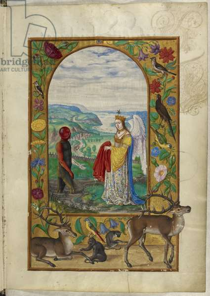 Ms Harley 3469, f.18 Queen offers robe to man in pool, the Fourth Parable, from 'Splendor Solis' by Salomon Trismosin, 1582 (vellum)