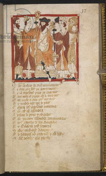 Egerton MS 3028 f.037rDrawing of the Coronation of Arthur, illustration from 'Roman de Brut (vellum)