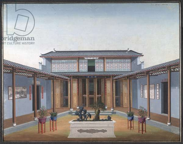 Honam Temple - Courtyard with Residential Quarters, 1800-05 (opaque w/c on paper)