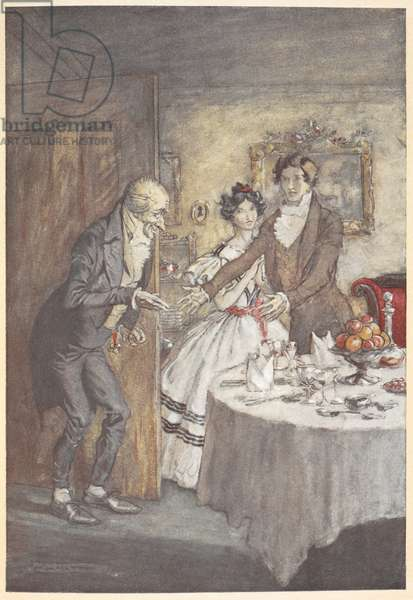 A young man and woman welcoming Scrooge for a meal in their dining room