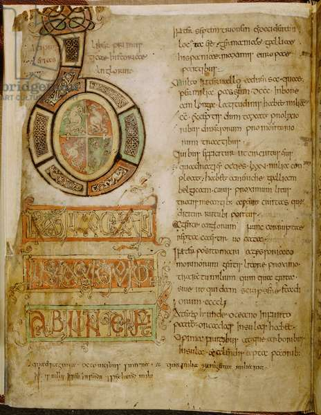 Cotton Tiberius C. II, f.5v Initial 'B', animal grotesques and interlace decoration, Opening of Book I of 'The Tiberius Bede. History of the English Church and People', c.850-900 (ink & colour on vellum)