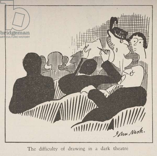 The difficulty of drawing in a dark theatre, from 'Land & Water' magazine, 31st July 1919 (engraving)