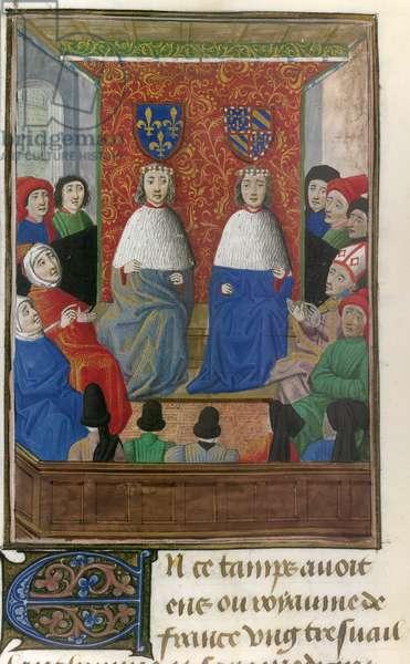 Harley 4379, fol.170v, Dukes of Berry and Burgundy, from 'Froissart's Chronicles (Volume IV, part 1)', 1470-75 (vellum)