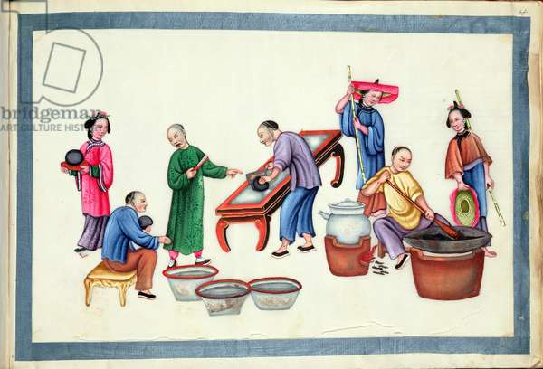 The owner of an opium den directs his workers as they cut up opium balls and mix the drug with tobacco from 'The Evils of Opium Smoking', (bound in an album, colour on paper)