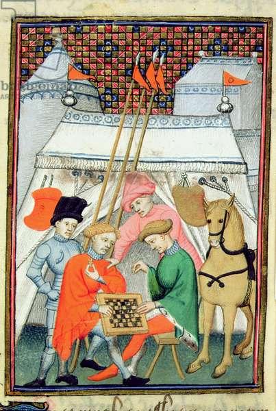 Harley 4431 f.133 Ulysses playing chess, Parisian copy, c.1410-15 (vellum)