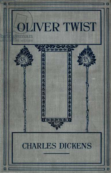 Pale blue front cover with floral decoration.