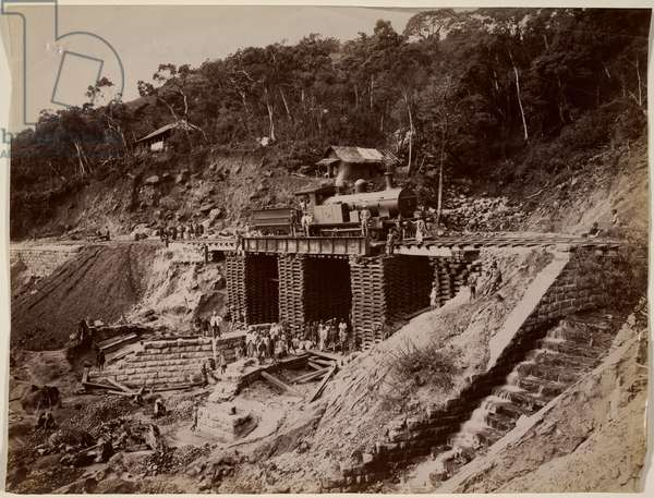 Temporary bridge and culvert on the Haputale Railway, Ceylon [Sri Lanka]. June 1893.
