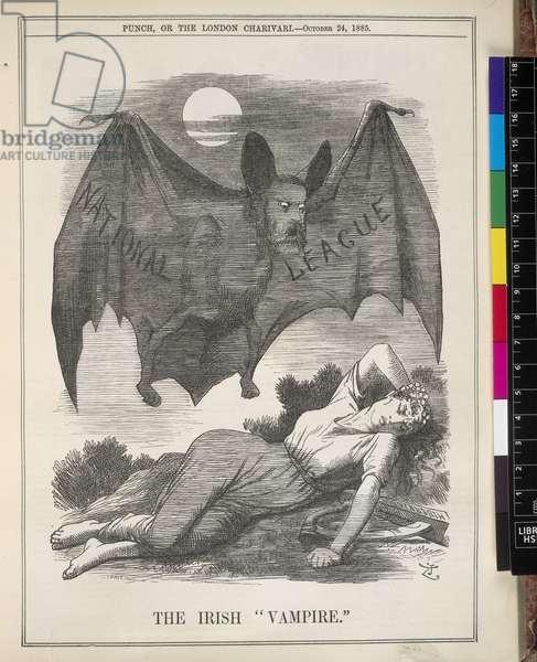 The Irish Vampire, illustration from 'Punch, or the London Charivari' published 24th October, 1885 (litho)