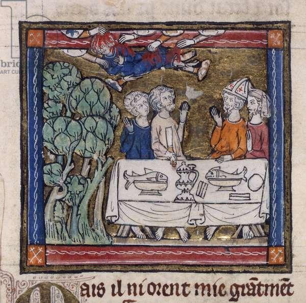 Royal 14 E.III fol.76v Seven hands cast fire upon Moys, from the 'Romance of the Saint Graal' by Robert de Borron, c.1315 (vellum)