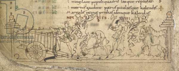 Cott Jul A VI f.5v May: chopping down branches and loading a cart, calendar, 11th century
