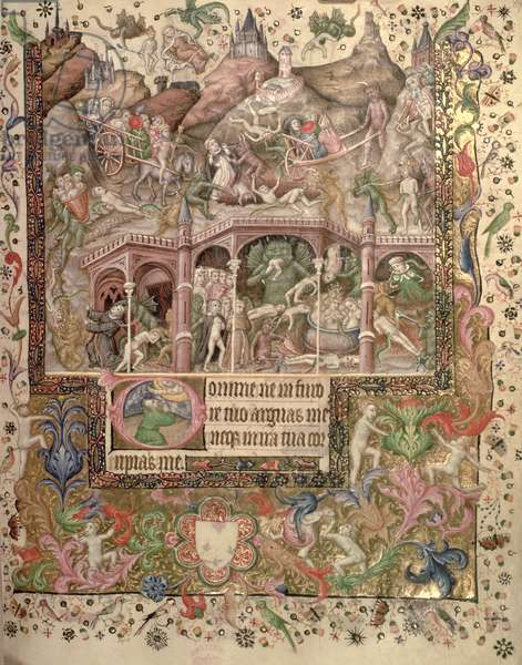 Add 29433 fol.89 Vision of Hell, from a Book of Hours, c.1407 (vellum)