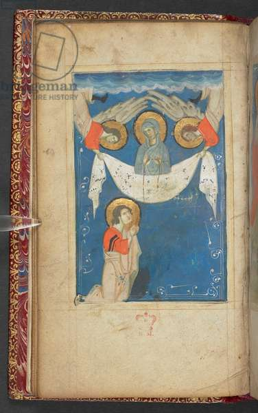 Harley 2928, f.15v Ascension of the Virgin, Scene from the Gospel of St. John (vellum)