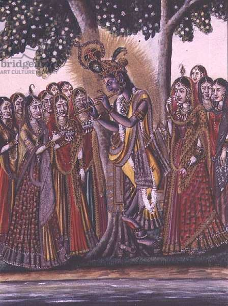 MSS EUR C 116/1 f.14v Krishna, from the Hindu epic the 'Adhyatma Ramayana', painting by a Chapra artist, watermarked 1802, (w/c)
