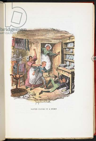 Oliver plucks up a spirit, from The Adventures of Oliver Twist ... With twenty-four illustrations by Cruikshank, 1911 (colour litho)