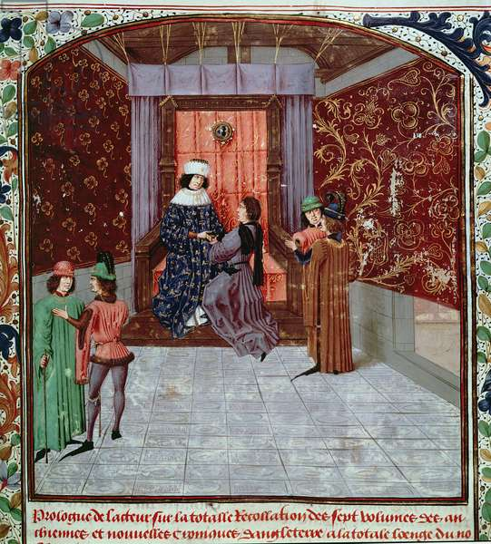 Roy 15 E IV f.14  Edward IV receiving the book from the author, from Anciennes Chroniques d'Angleterre, by Jean Batard de Wavrin, c.1470-80 (vellum)