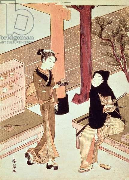 Osen of the Kagiya serving tea to a customer (colour woodblock print)