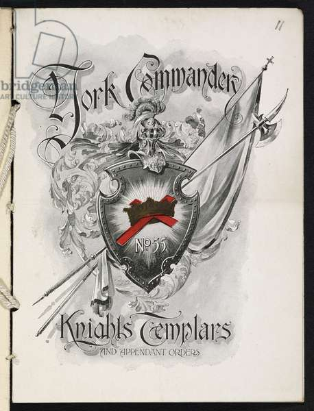 Front cover of a booklet with the title: York commander no.55, knights Templars and independant orders. The booklet is for the event: 29th anniversary and annual reception, Madison square garden, Monday evening, January 20th 1902.
