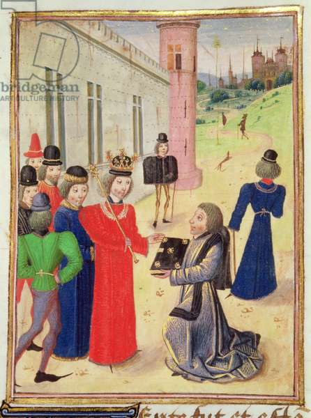 Harl 4380 f.233v Froissart presents his book to Richard II, from Froissart's Chronicle, Vol IV (vellum)