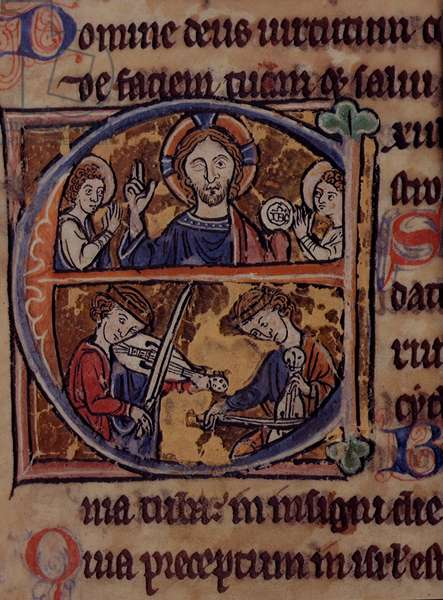 Add 18929 fol.100 Historiated initial 'E' depicting Christ with angels and musicians, from the 'Psalter Map Manuscript', c.1262 (vellum)