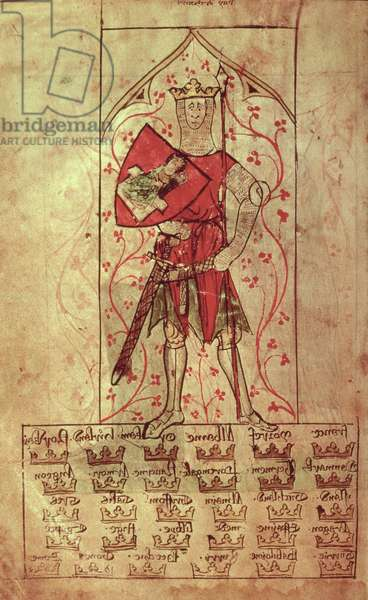 Roy 20 A II f.4r King Arthur and the Thirty Kingdoms written during the reign of Edward II (1248-1327)