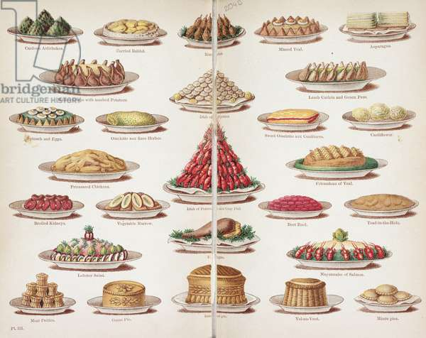 Plate III from 'Beeton's Everyday Cookery and Housekeeping Book', edited by Mrs Isabella Beeton, 1888 (colour litho)