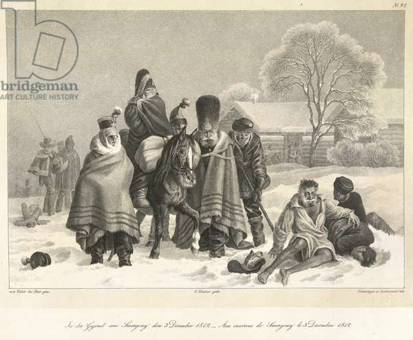 The Retreat from Moscow, 3rd December 1812, illustration from 'Blaetter aus meinem Portefeuille, im Laufe des Fel', 1831-43 (litho)