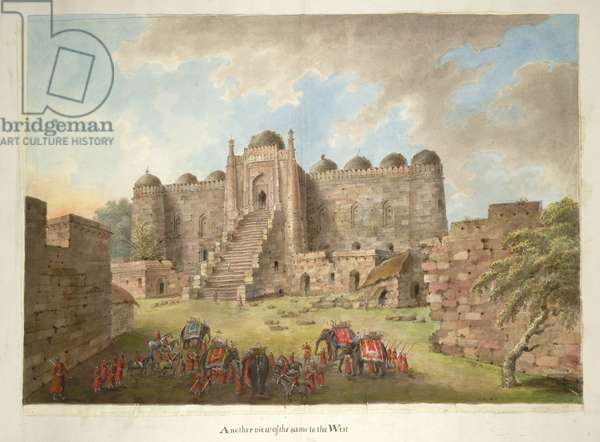 The entrance courtyard and east facade to the Kalan Masjid. Lady Hastings' party in the foreground, 1815 (w/c on paper)
